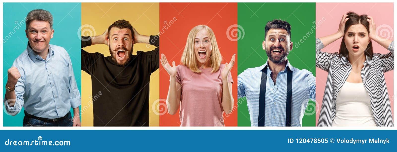 Collaget av förvånat folk