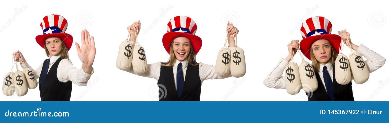 Collaget med kvinnan och den amerikanska hatten