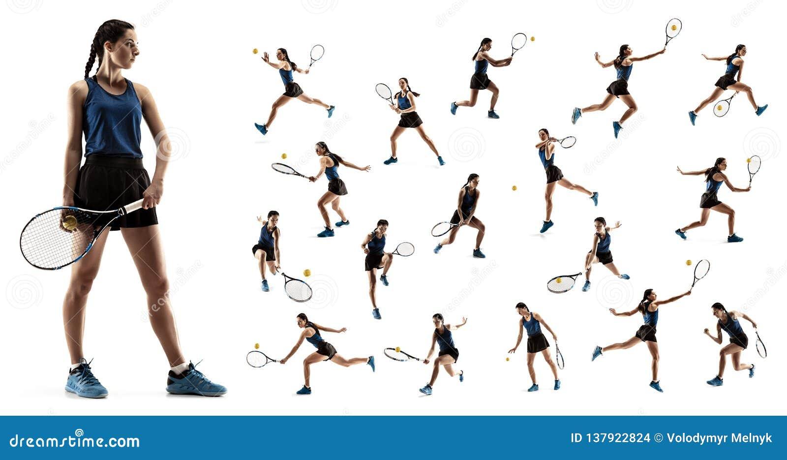 Collaget om den unga kvinnan som spelar tennis som isoleras på vit bakgrund