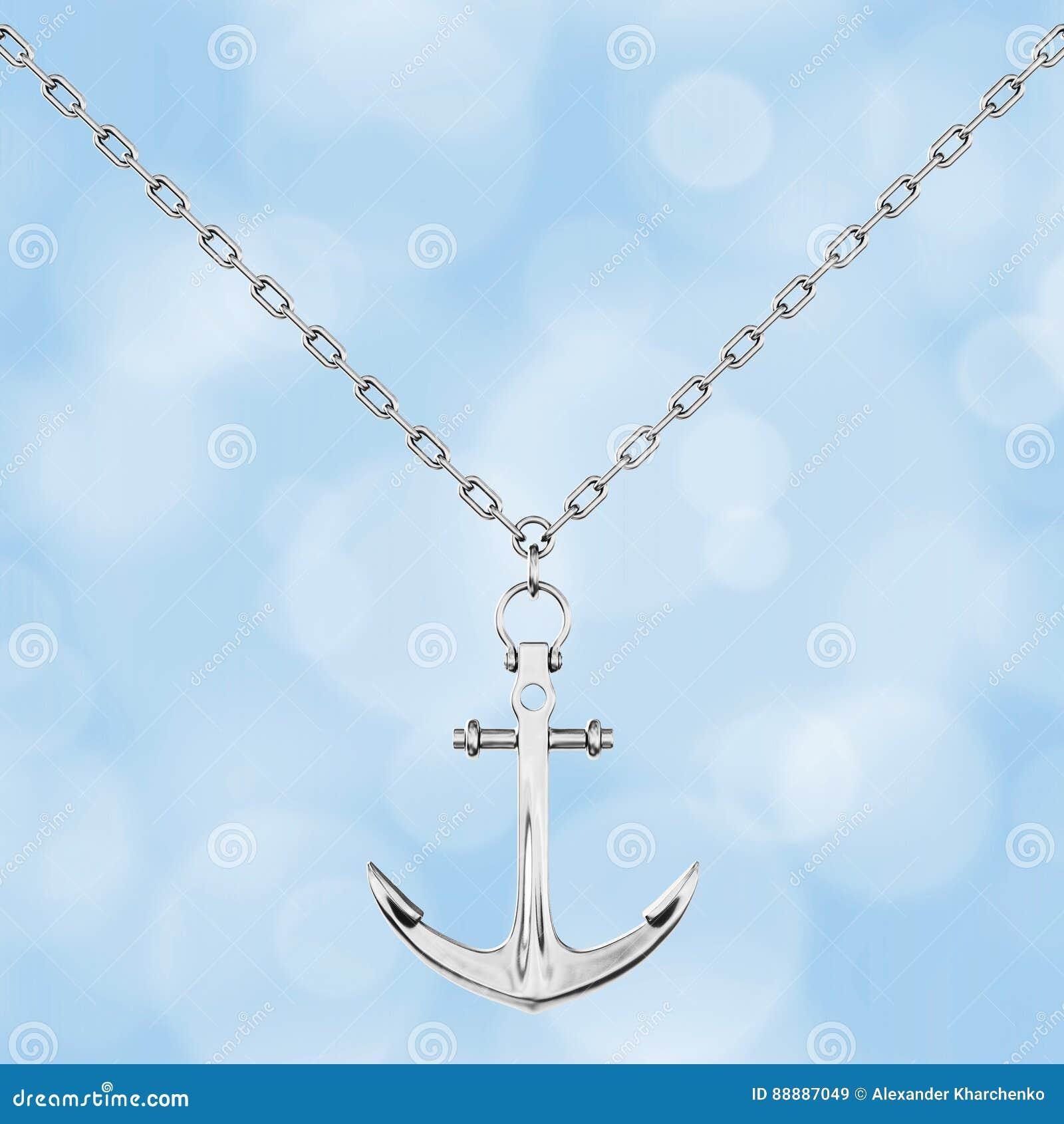Collana d argento con l ancora rappresentazione 3d