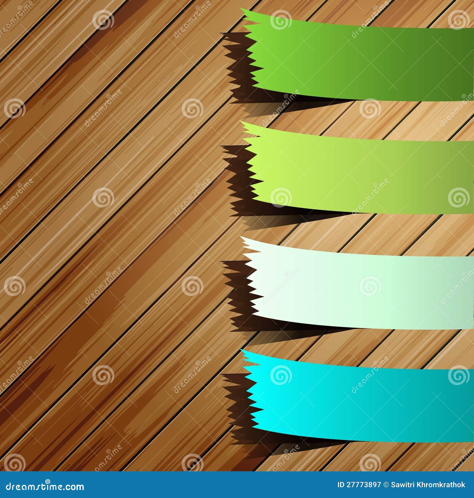 Collant coloré de présentations sur le bois