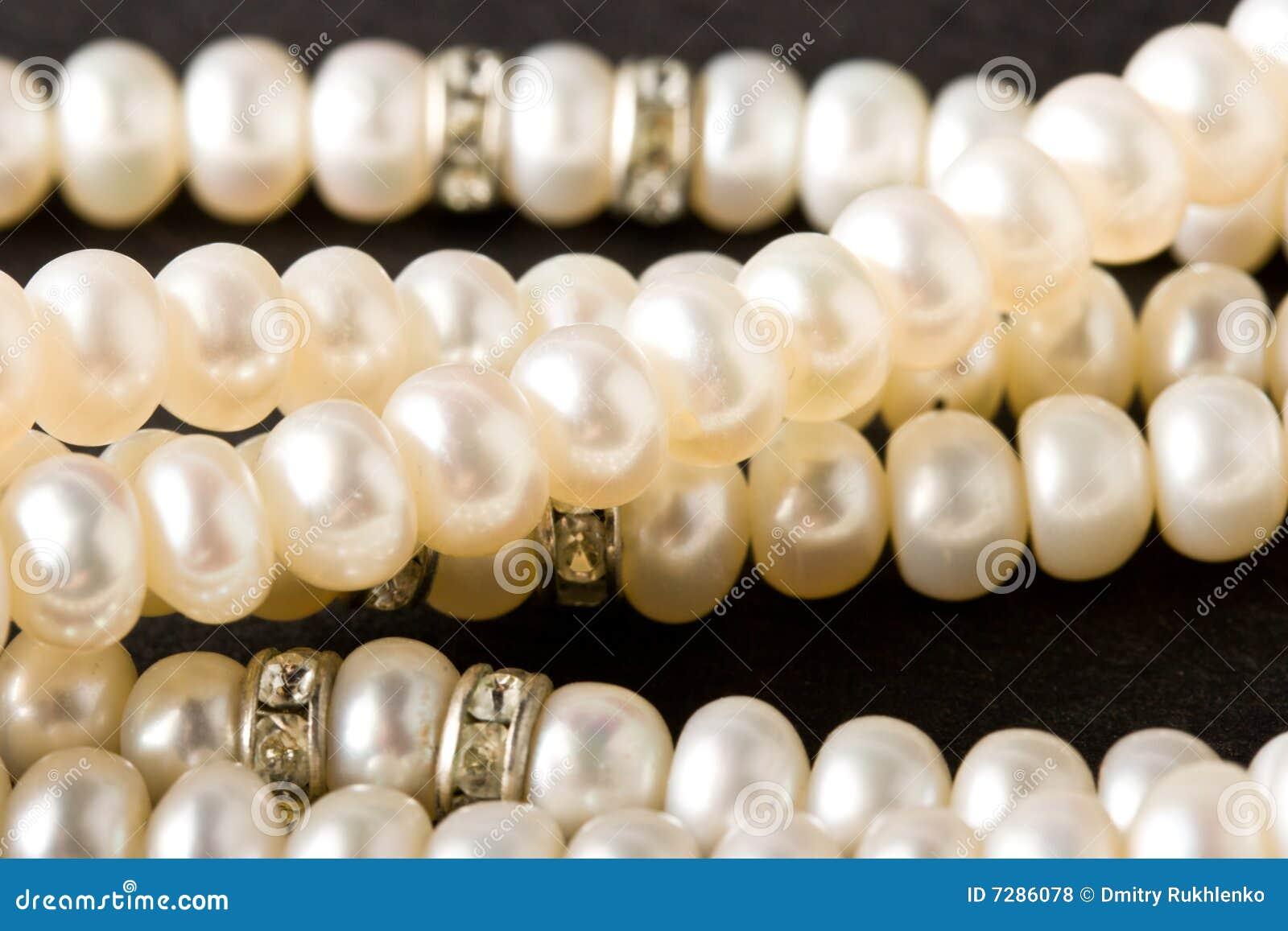 Collar de la perla en negro