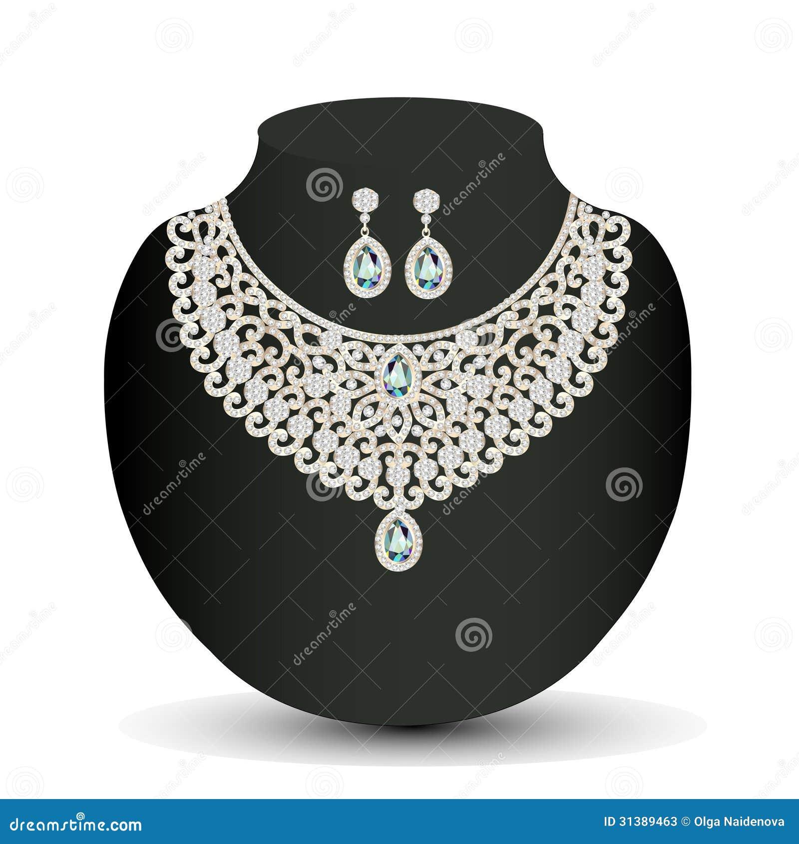 48550cbdf514 Collar de oro y pendientes femeninos con las piedras preciosas blancas