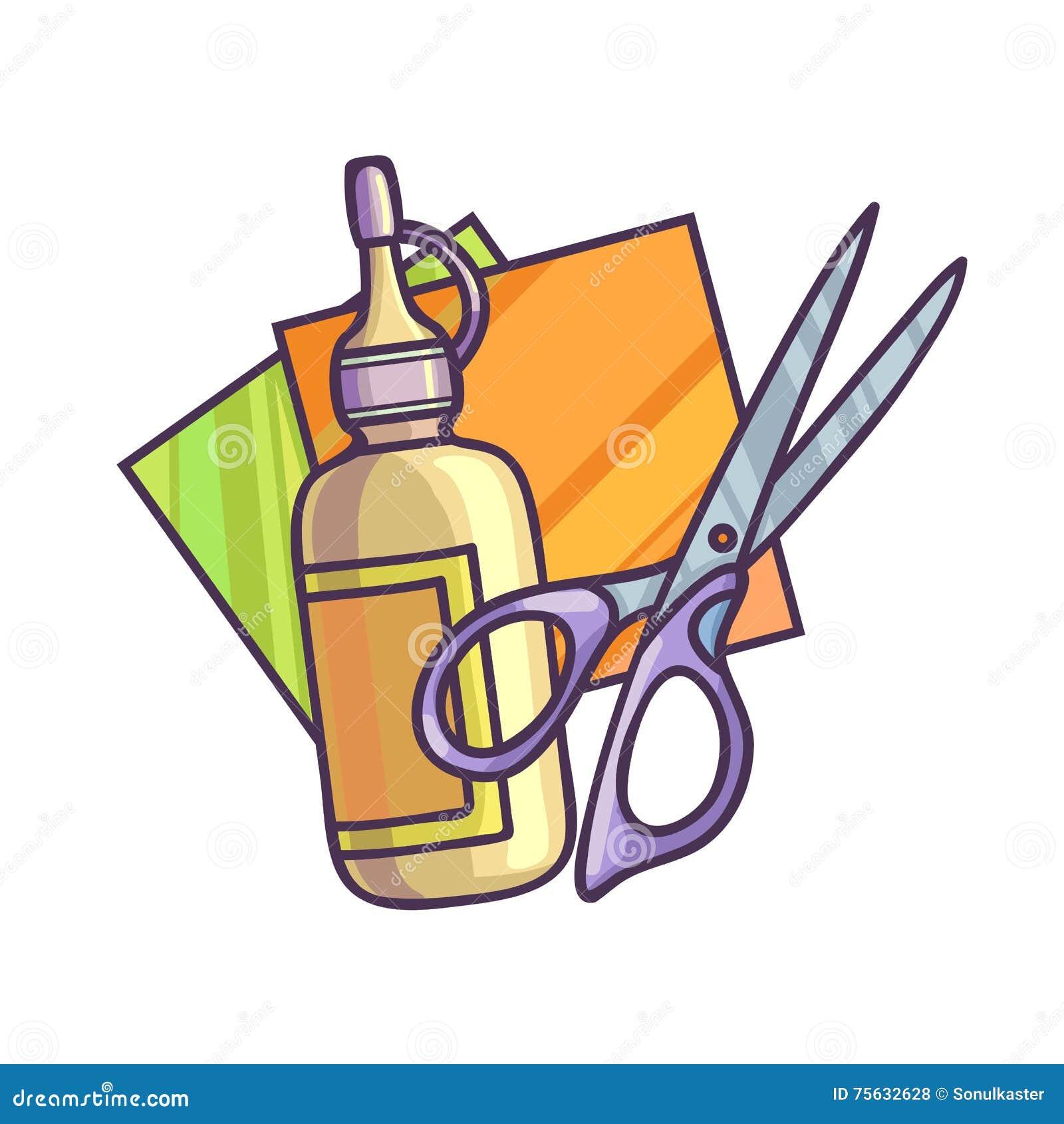 Colle papier et ciseaux illustration de vecteur - Clipart bricolage ...