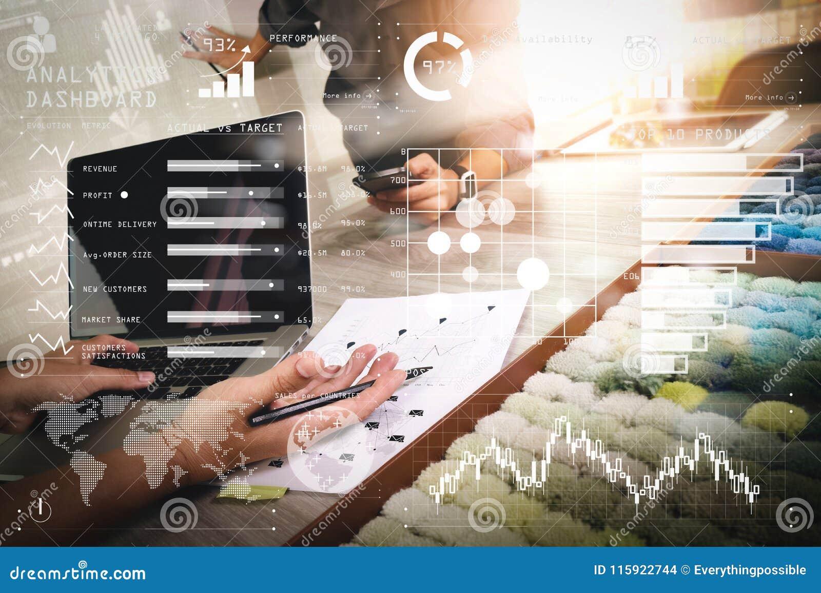 Colleagues interior designers discussing data with new - Interior design industry statistics ...