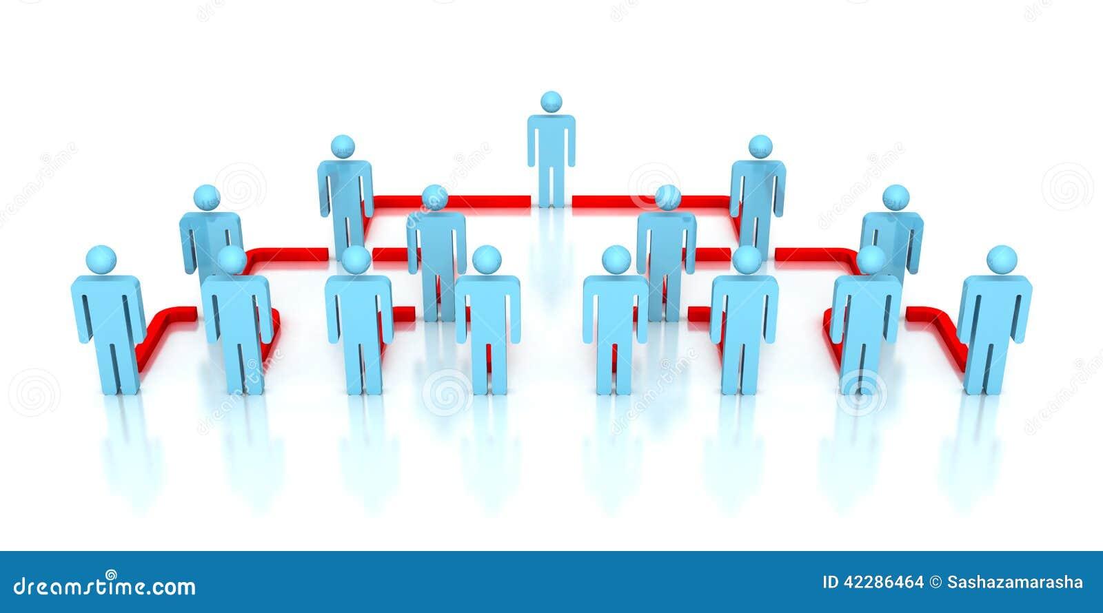 Collectieve hiërarchie bedrijfsnetwerk 3d mensen