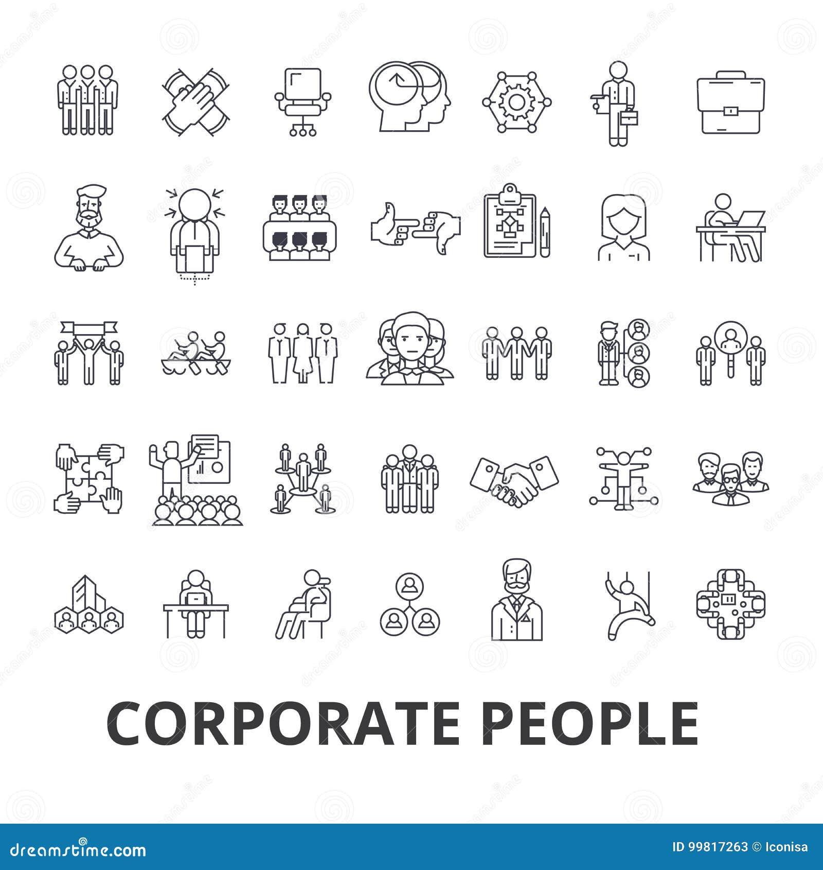 Collectieve mensen, collectieve identiteit, zaken, trein, collectieve gebeurtenis, de pictogrammen van de bureaulijn Editableslag