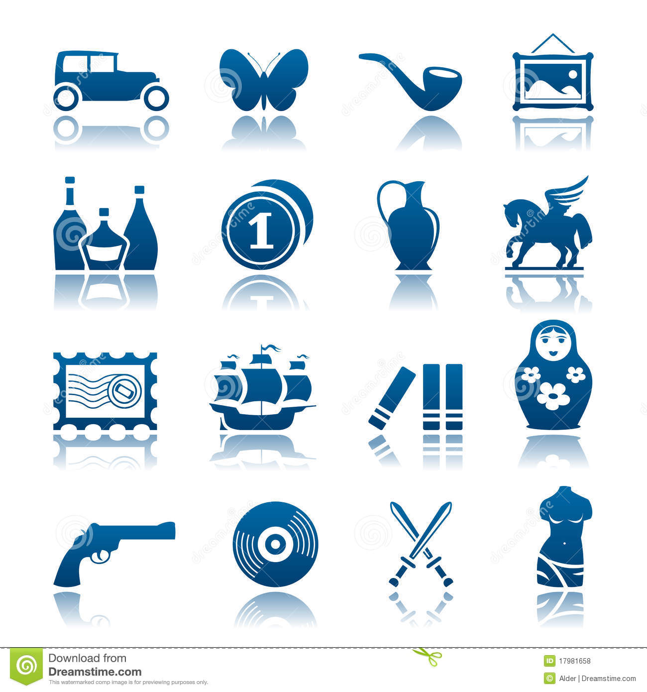 Collecting And Hobby Icon Set Stock Vector - Illustration of bottle, boat: 17981658