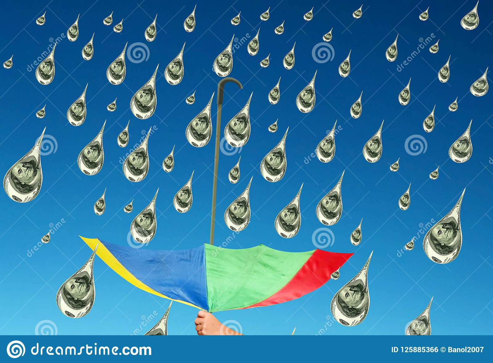 Collecting money rain. Blue sky. Concept of success