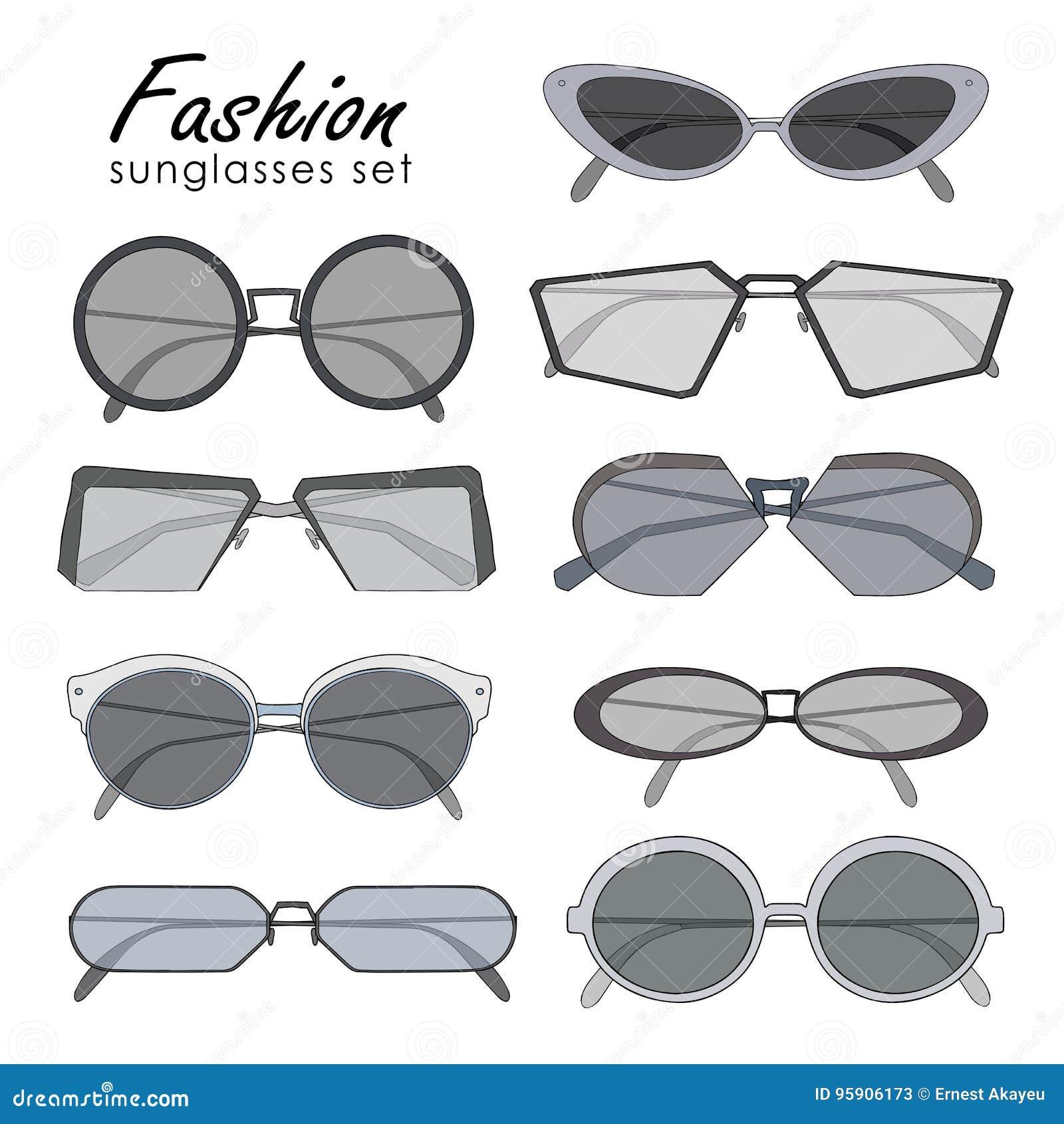 acfe9ce127 Collection à la mode de lunettes de soleil Différents lunettes de forme  Ensemble coloré d illustration