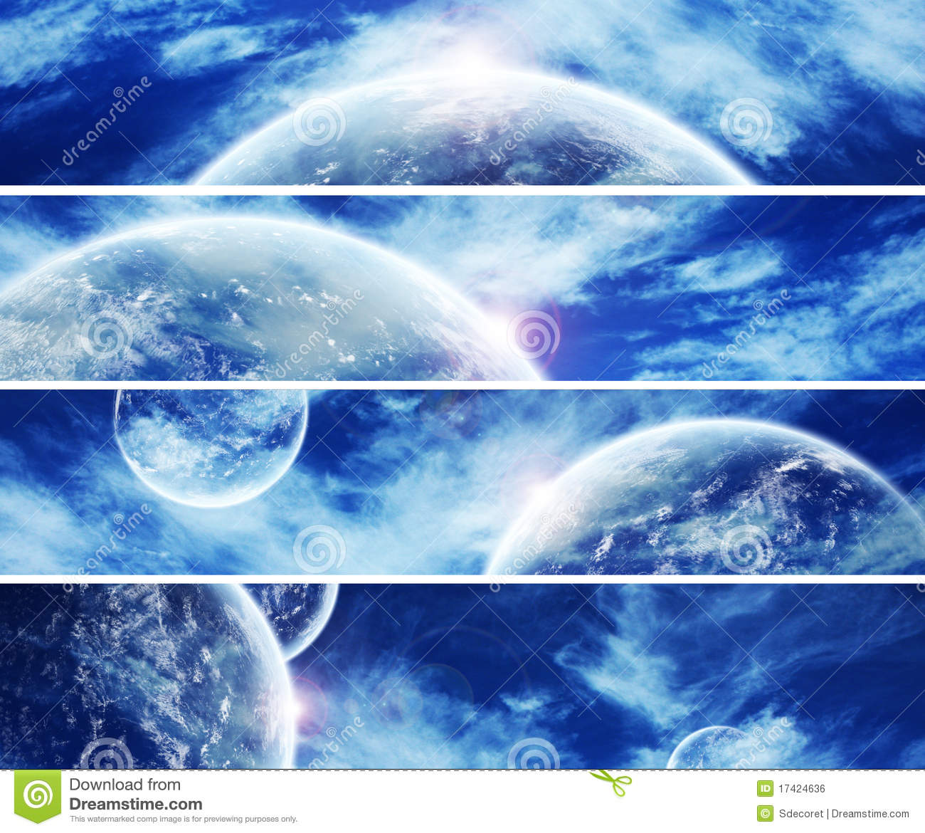 Collection Of 5 Banners For Website : Heaven Space Royalty