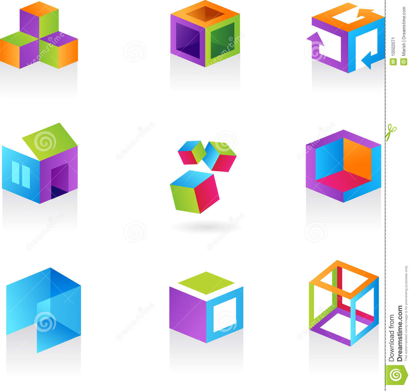 Collection Of Abstract Cube Icons / Logos Stock Vector