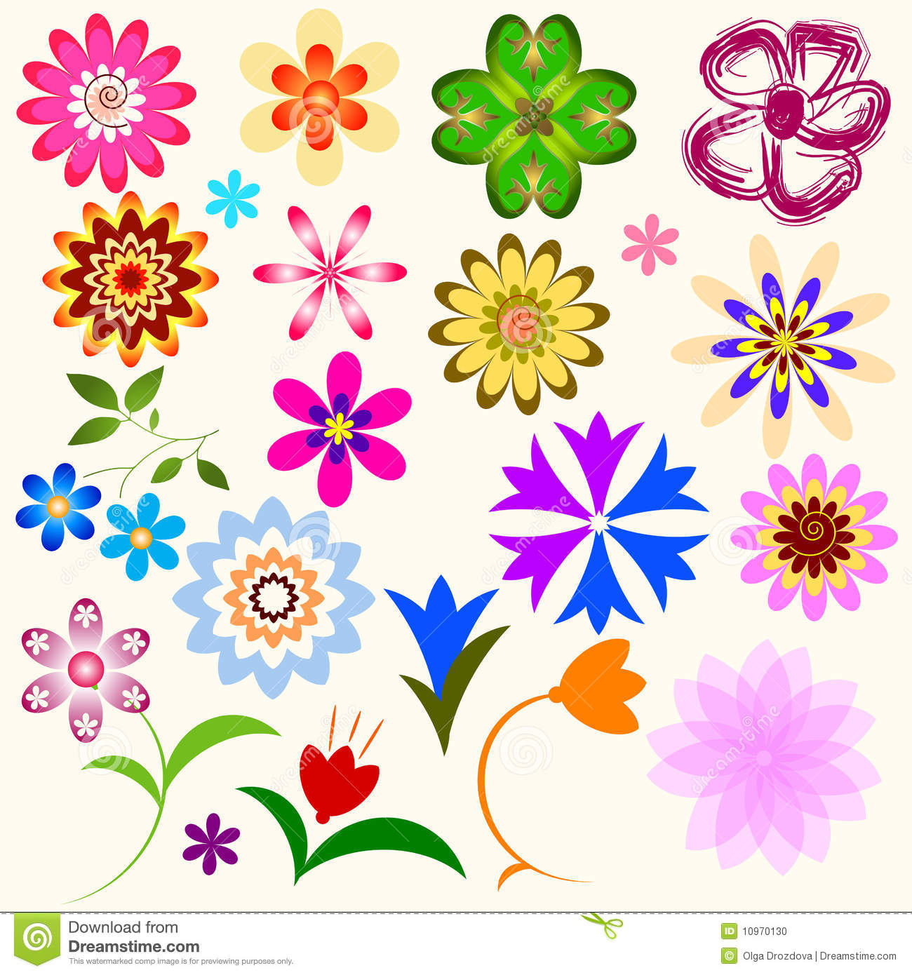 Collection Abstract Flowers Vector Stock Vector