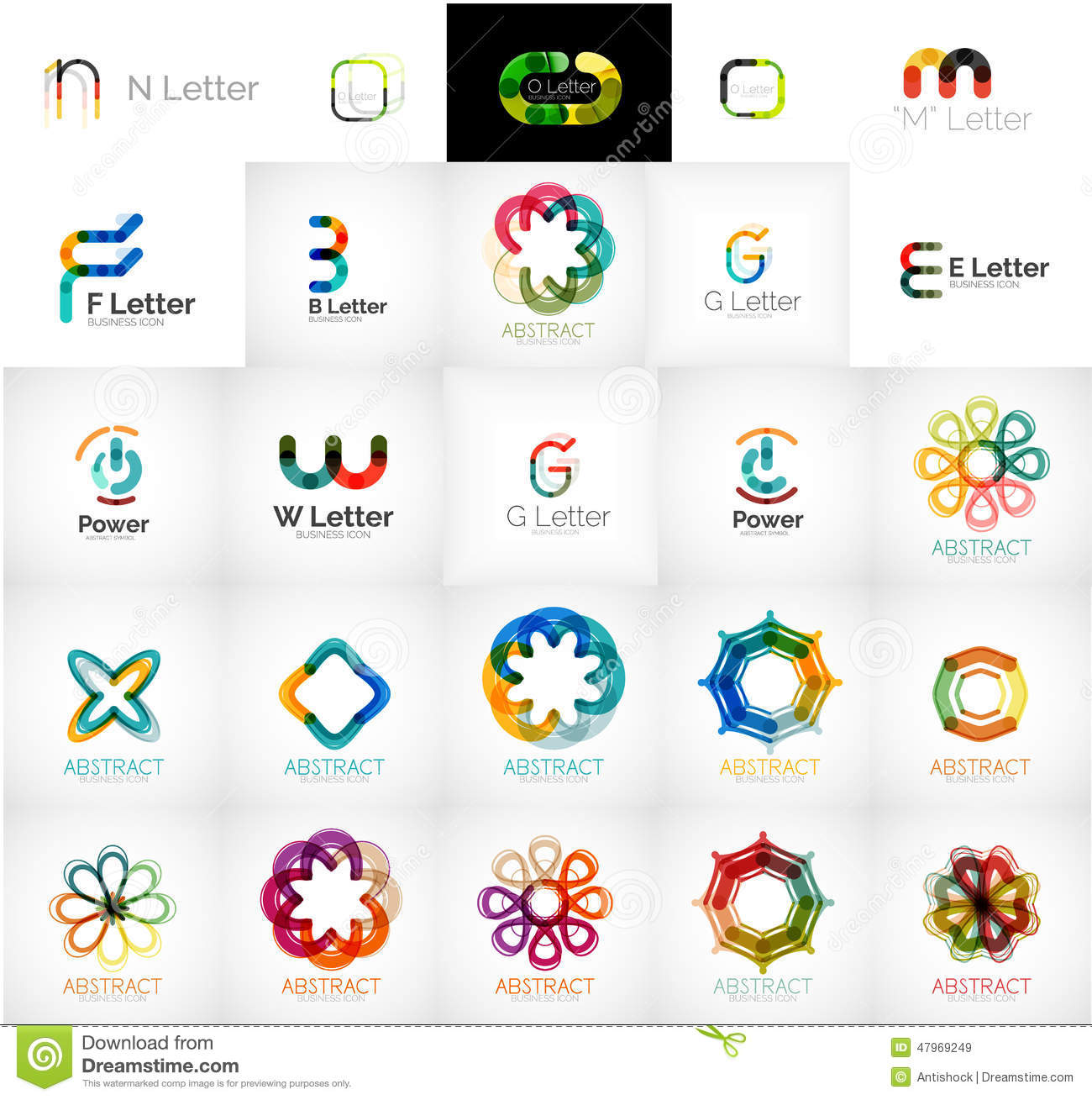 collection of abstract universal logos stock vector
