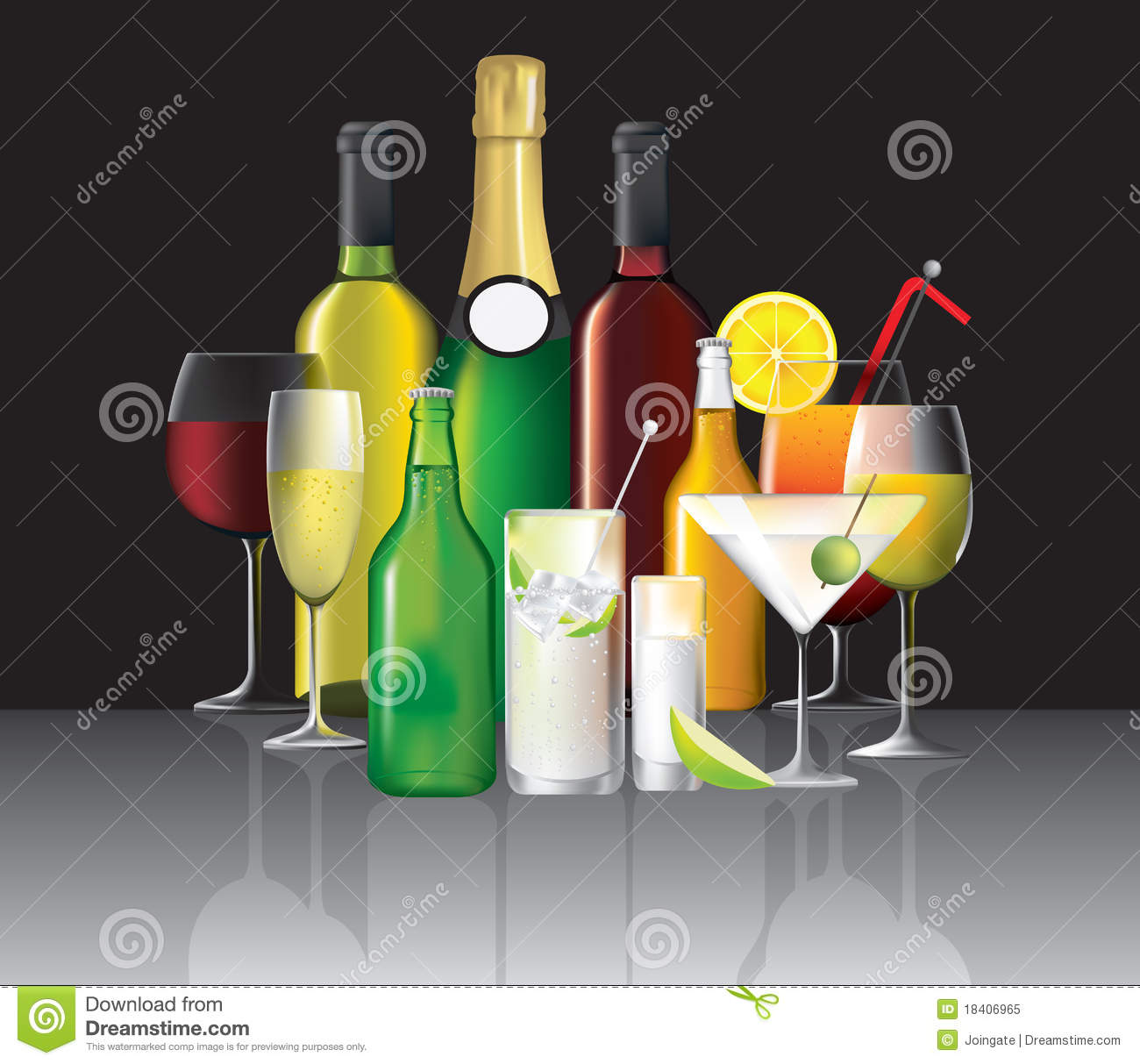 Collection Of Alcoholic Drinks Stock Vector