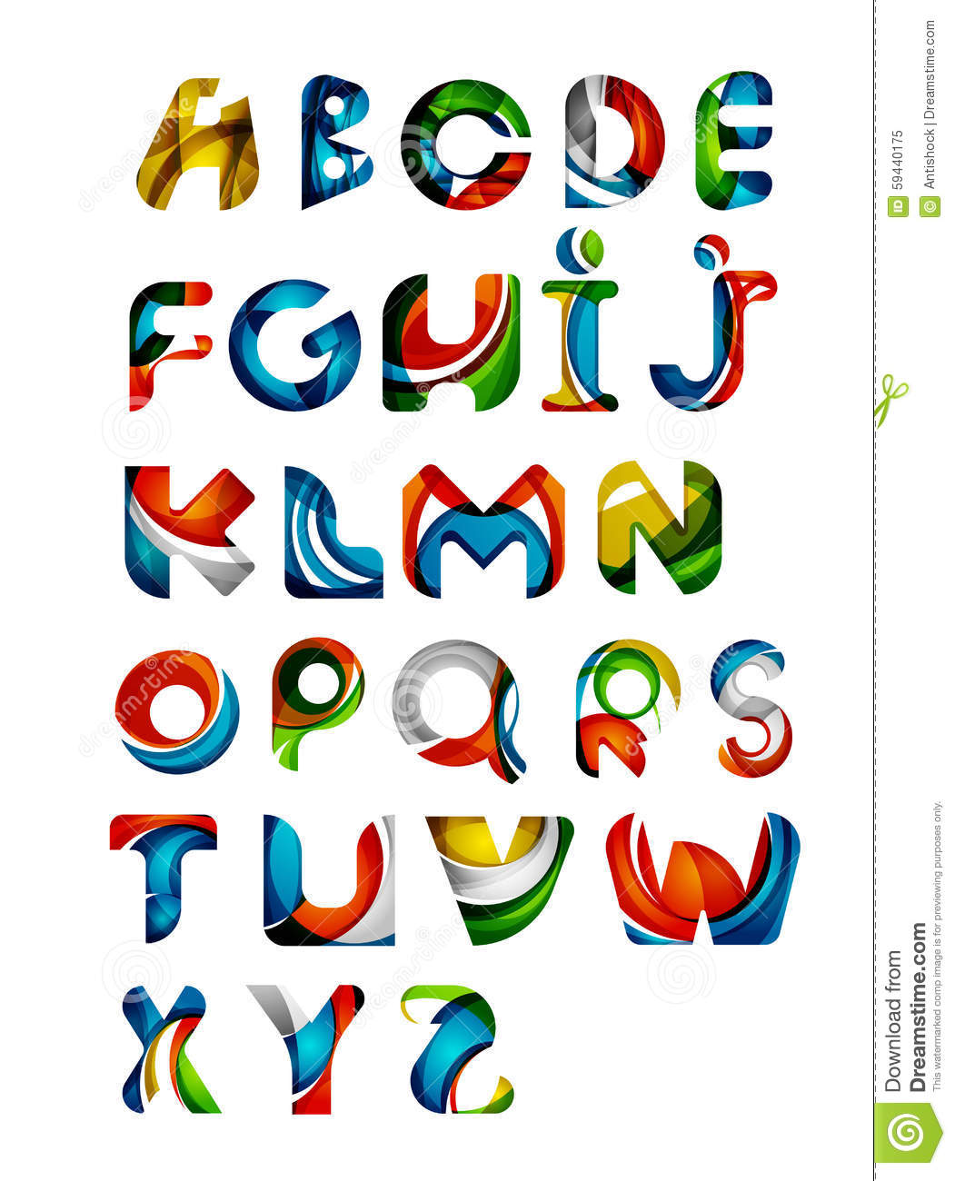 Collection Of Alphabet Letters Logos Design Stock Vector
