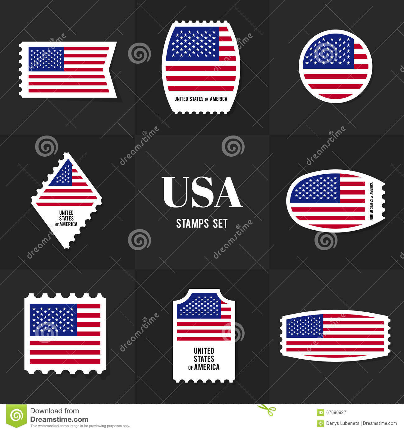 Collection American Flag Postage Stamp Stock Vector Illustration