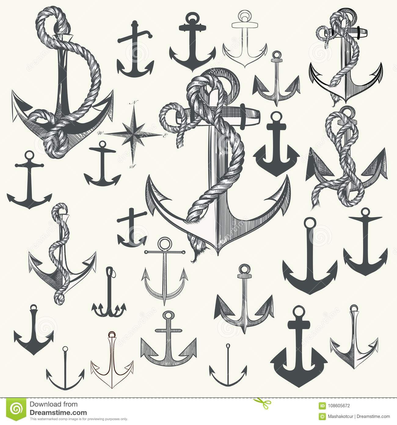 Collection Of Anchors, Labels For Logotype Or Print Design