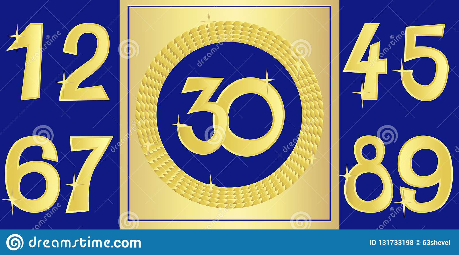 Collection of anniversary golden signs with numbers. Vector illustration