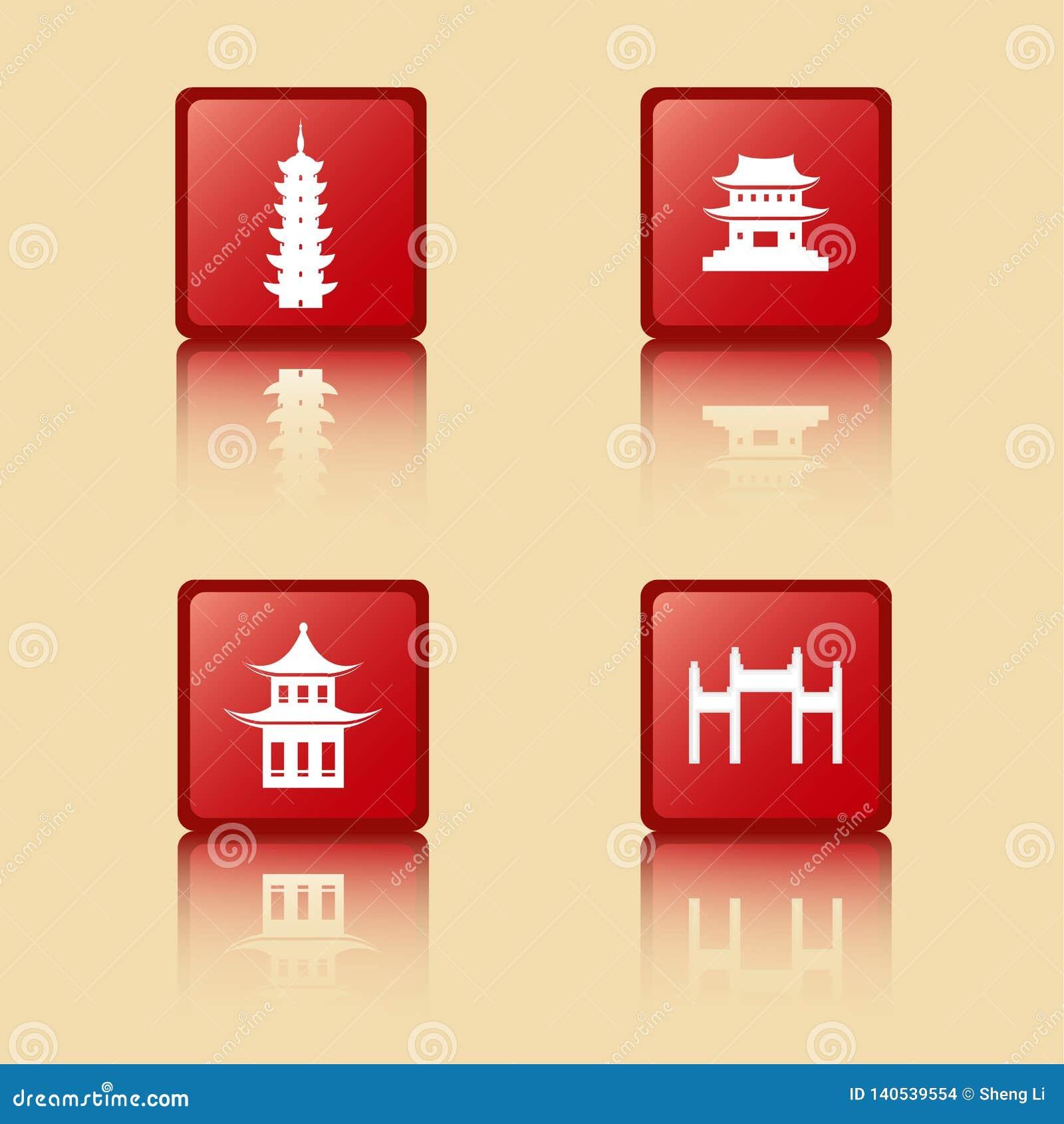 Collection antique chinoise d icônes de bâtiments, tour, pavillon, temple, arcade