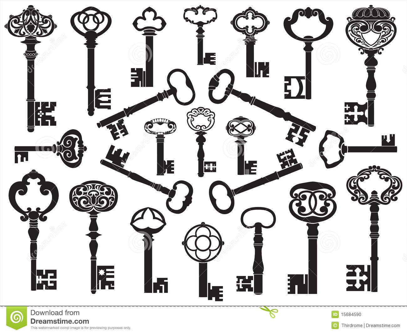 Collection Of Antique Keys Stock Vector Image Of
