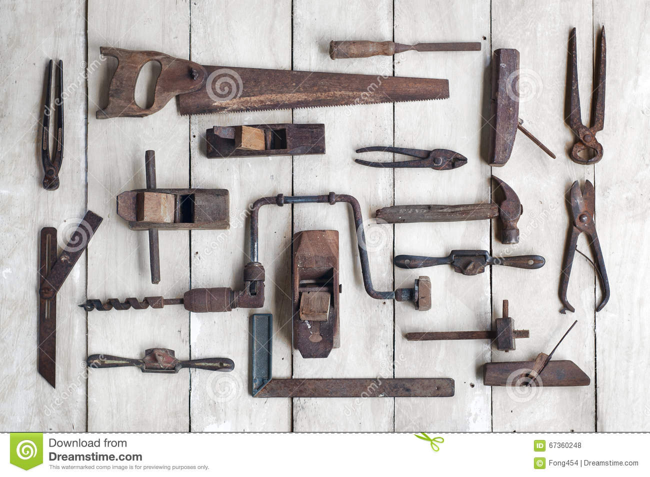 Collection Of Antique Woodworking Tools On Wooden Table Stock Photo - Image: 67360248