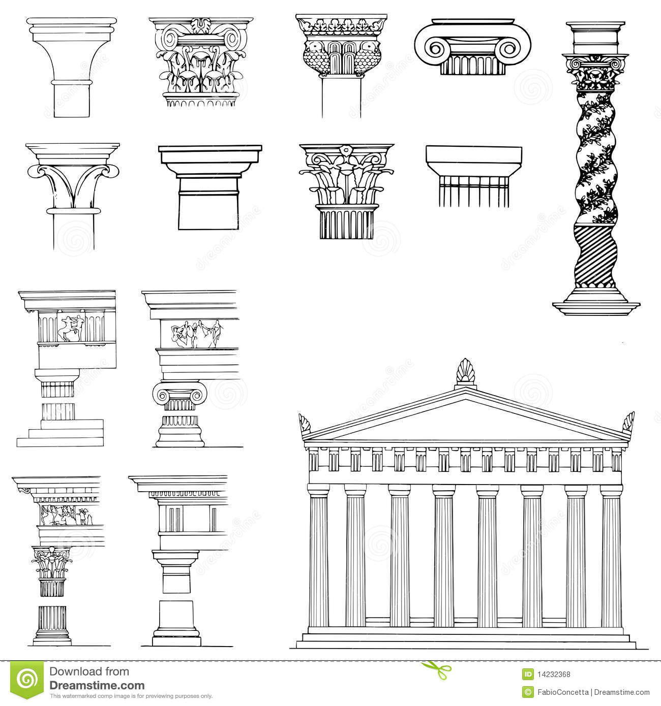 Collection of architectural elements stock illustration for Baroque architecture elements