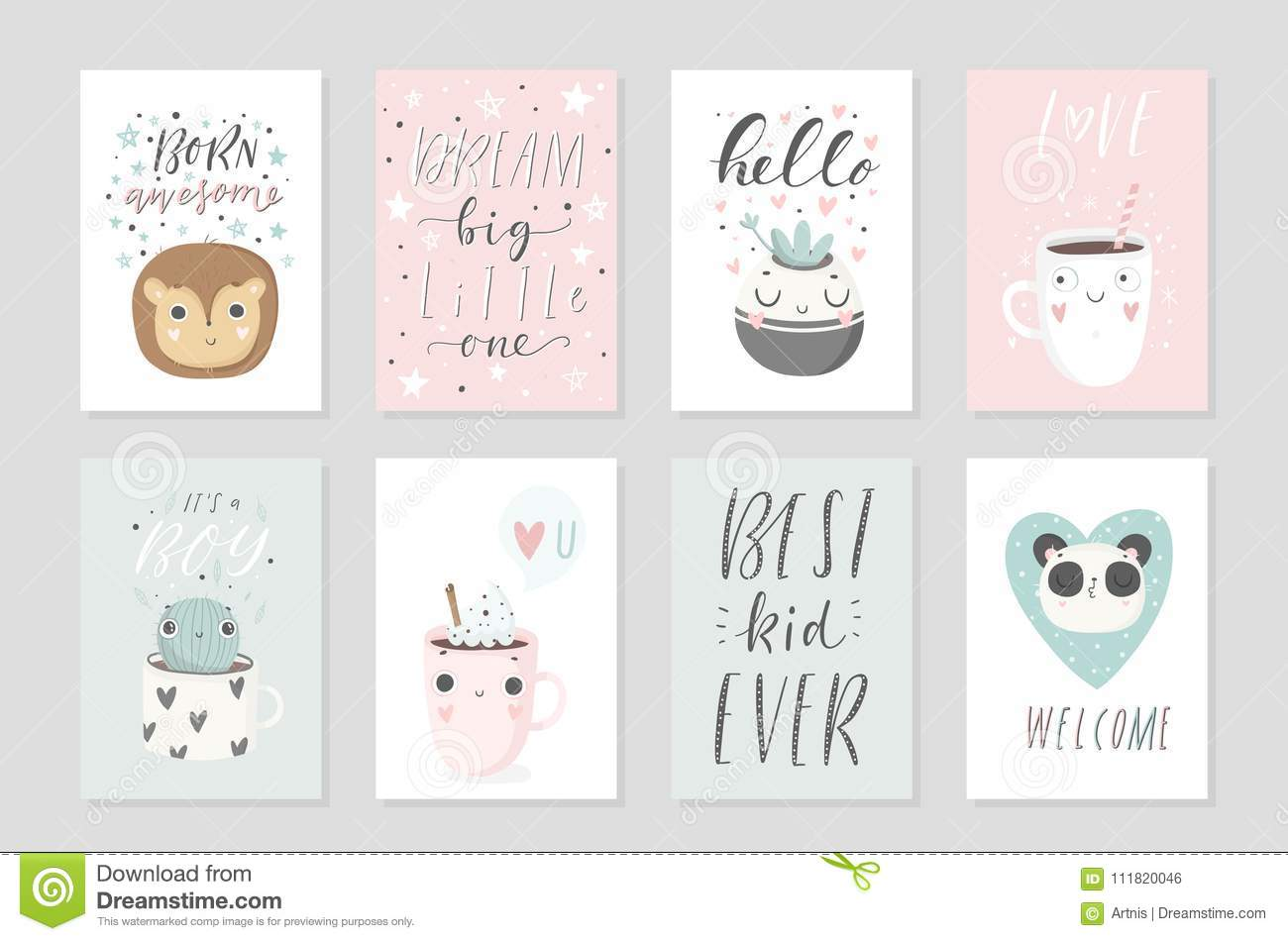 download collection of 8 baby shower posters vector invites stock vector illustration of