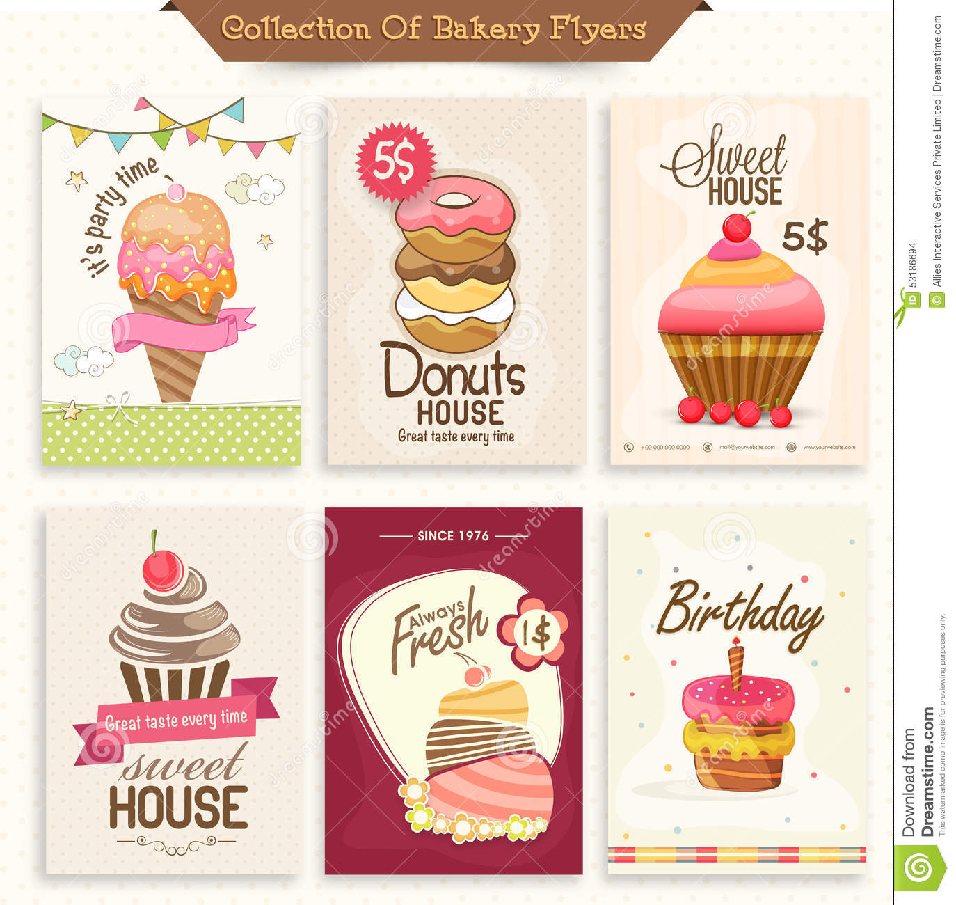 bakery brochure template free - collection of bakery flyers stock illustration