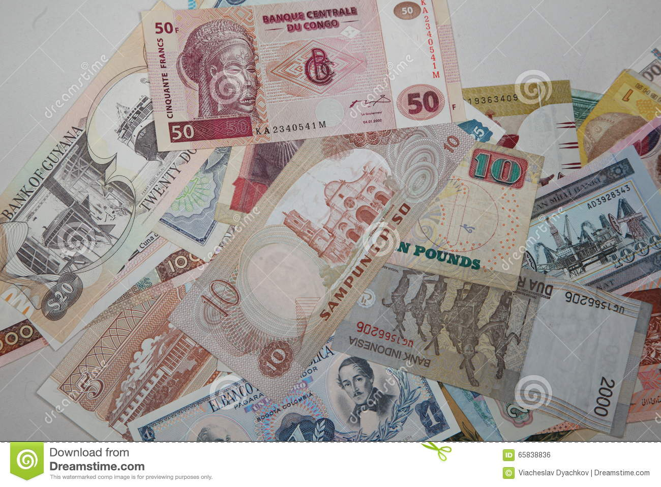 Collection of banknotes of different countries