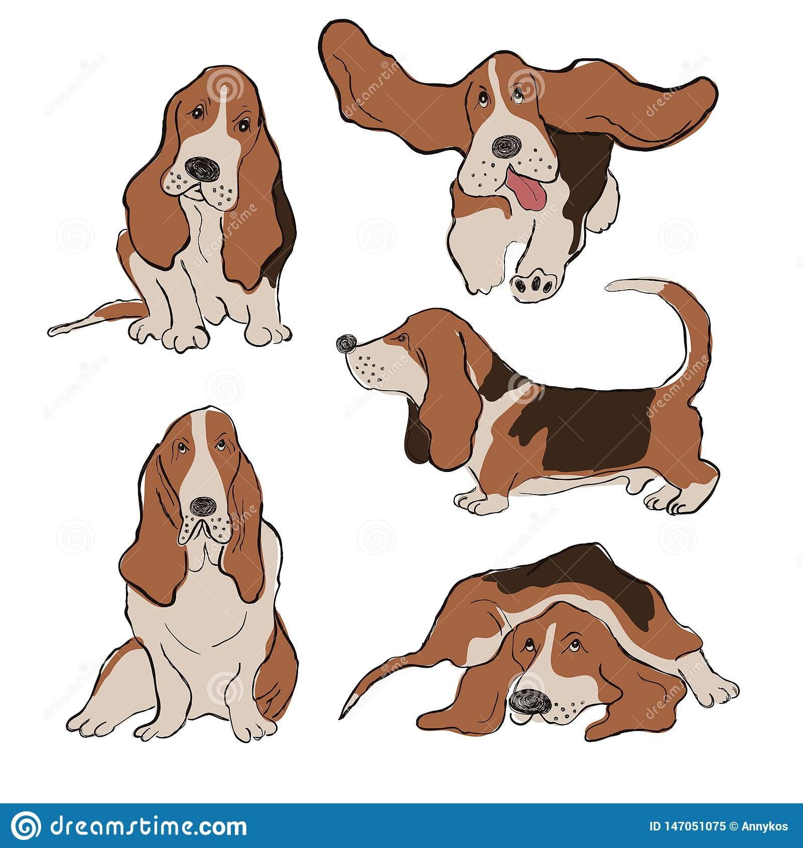 Collection Of Basset Hound Dog Icons Stock Vector Illustration Of Breed Hound 147051075