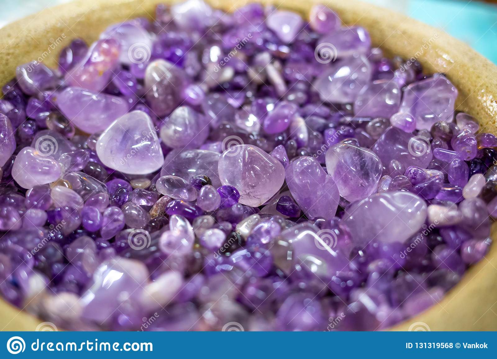 Collection of beautiful amethyst stones close up