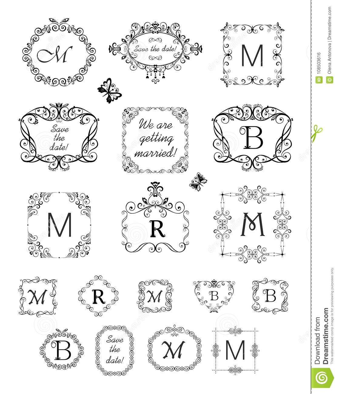 Collection Of Beautiful Frames And Vignette For Wedding Design, Menu ...