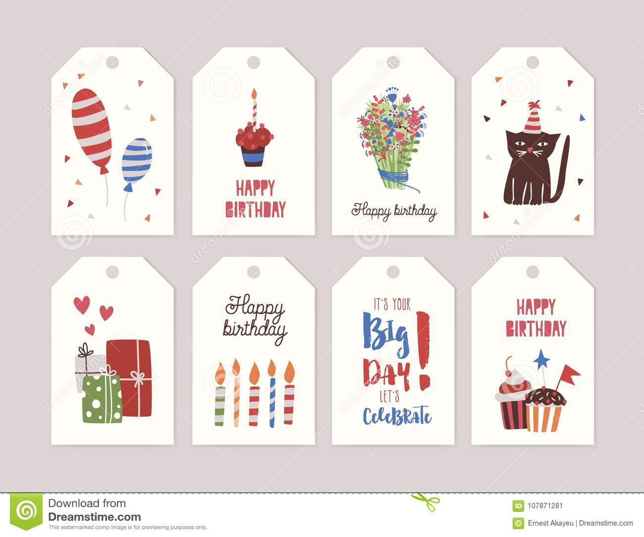 Collection of birthday labels or tags with bouquet of flowers, cupcake with burning candle, gifts, balloons, funny