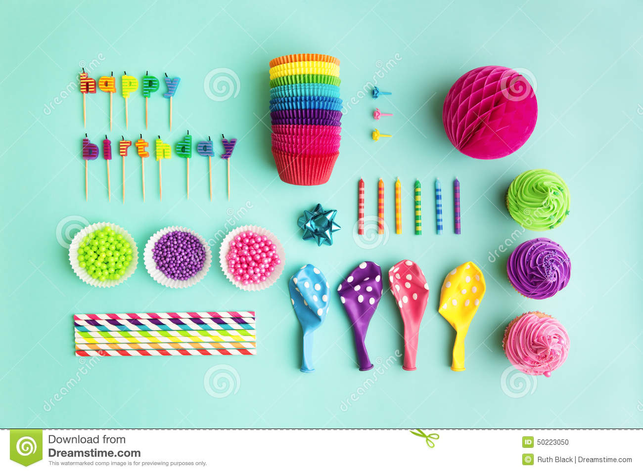 Collection Of Birthday Party Objects Stock Photo Image