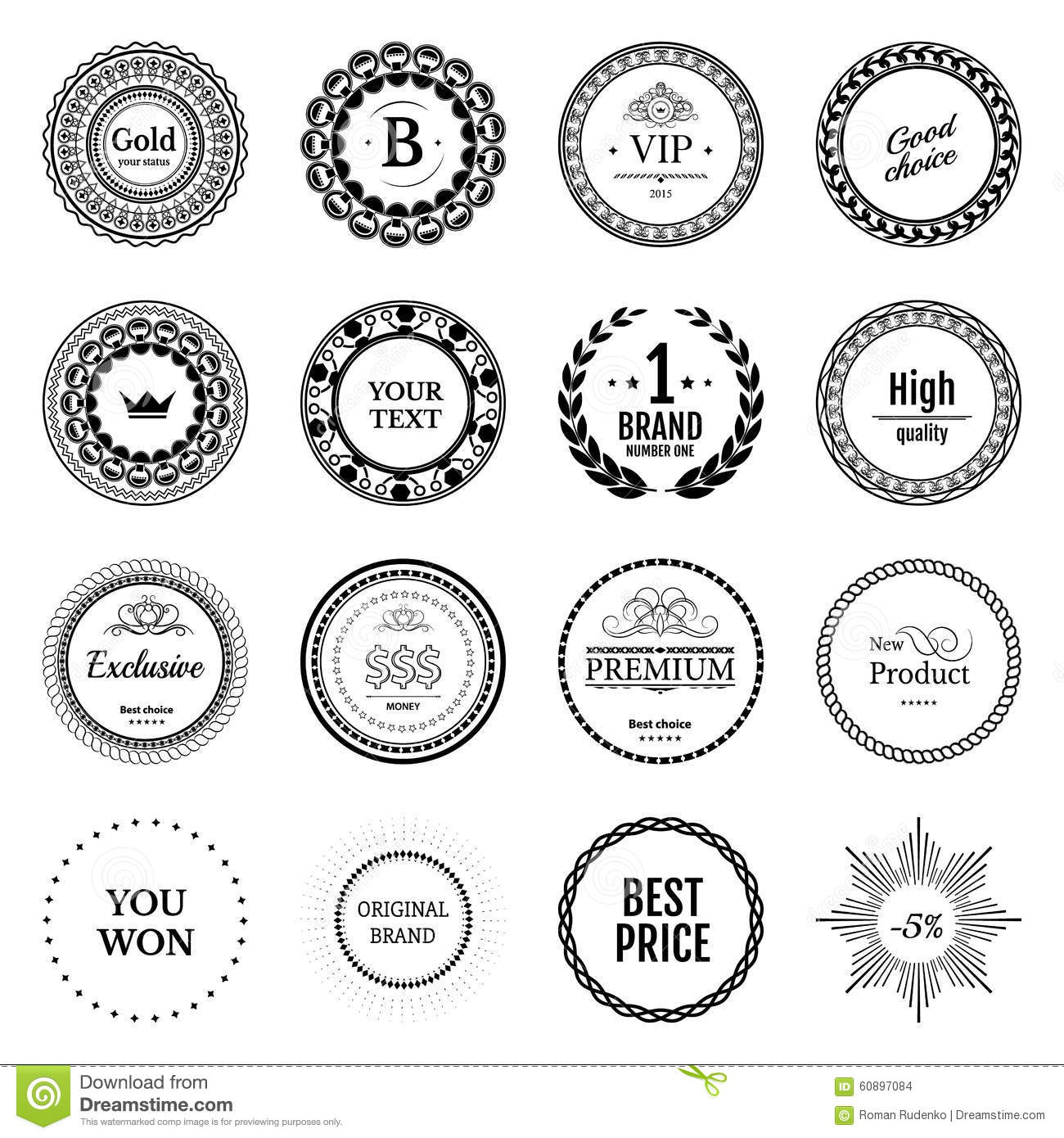 Collection black labels for promo seals vintage sticker with text can be use for design certificate quality stickers round vector retro objects