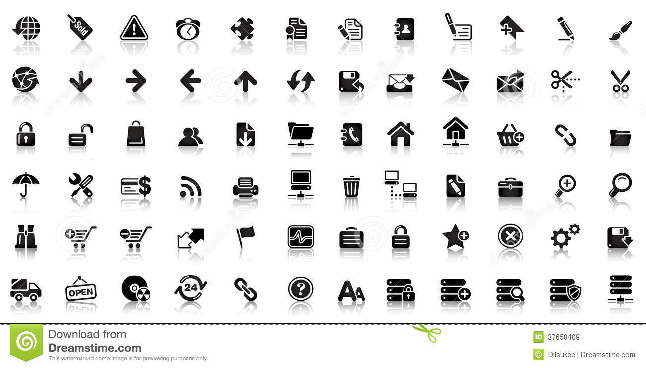 collection of black web icon stock vector