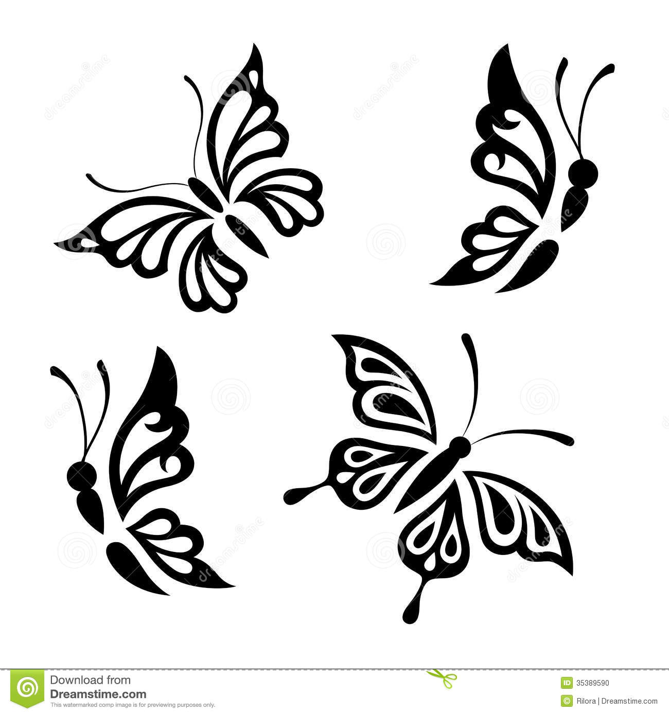 Collection Black And White Butterflies Stock Vector - Image: 35389590