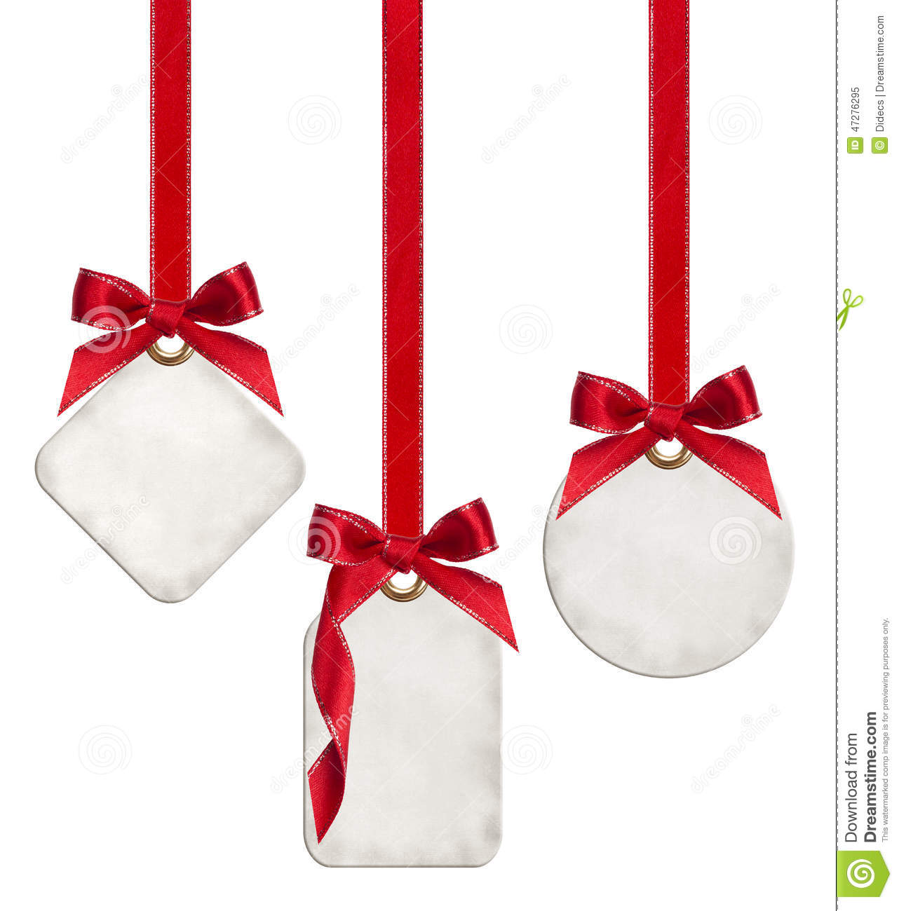 collection of blank gift tags tied with red satin ribbon