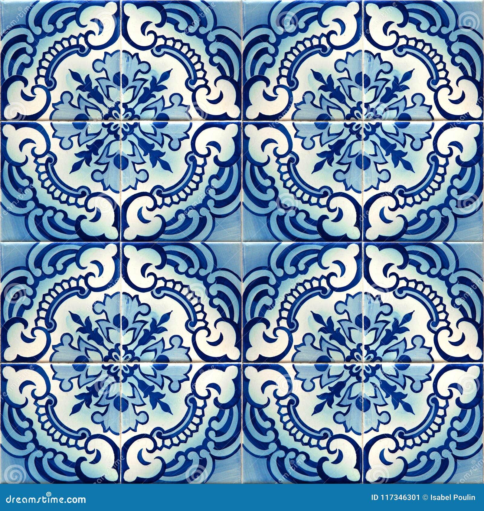 Collection Of Blue Patterns Tiles Stock Illustration - Illustration ...