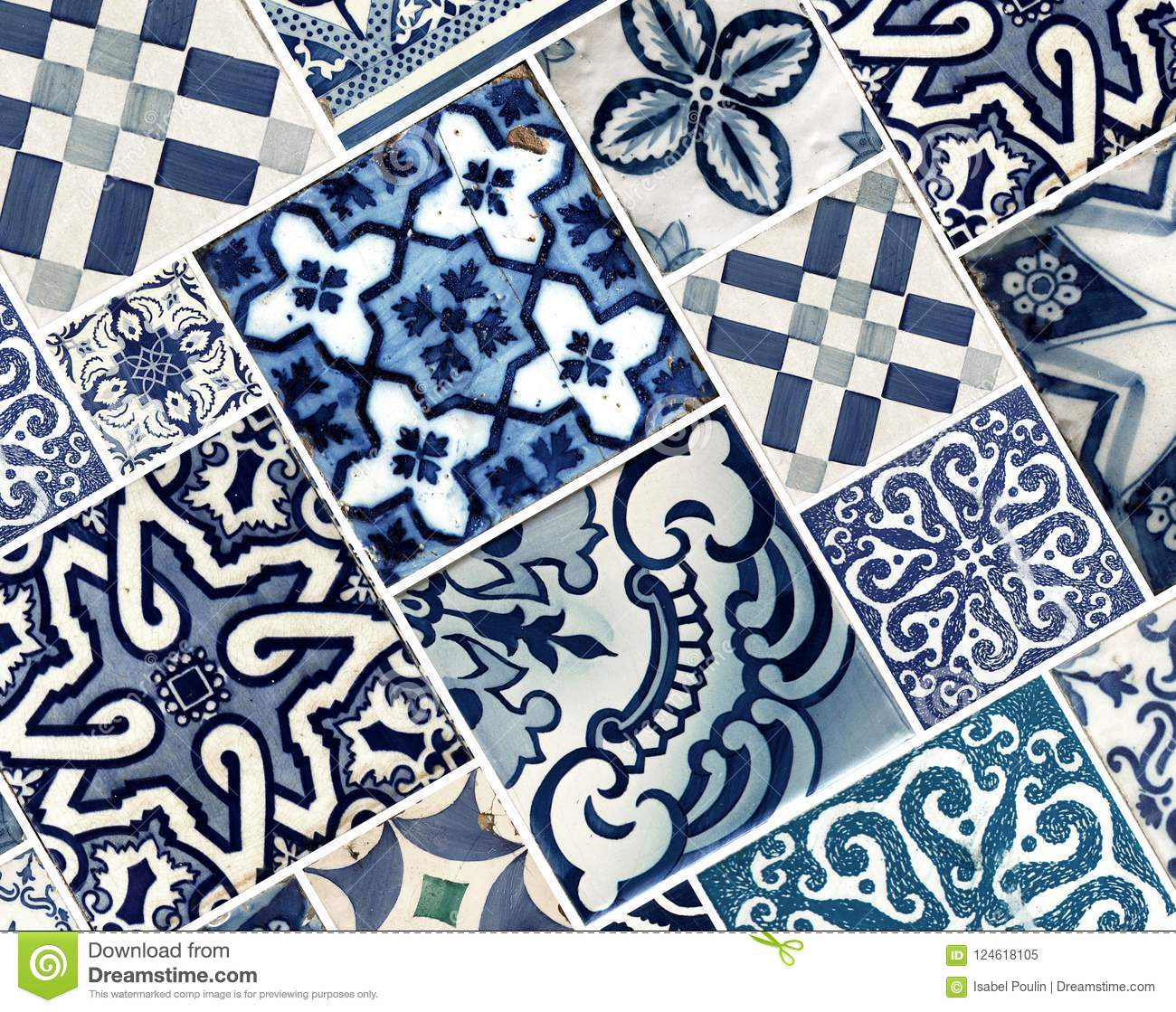 Collection Of Blue Patterns Tiles Stock Image - Image of islamic ...