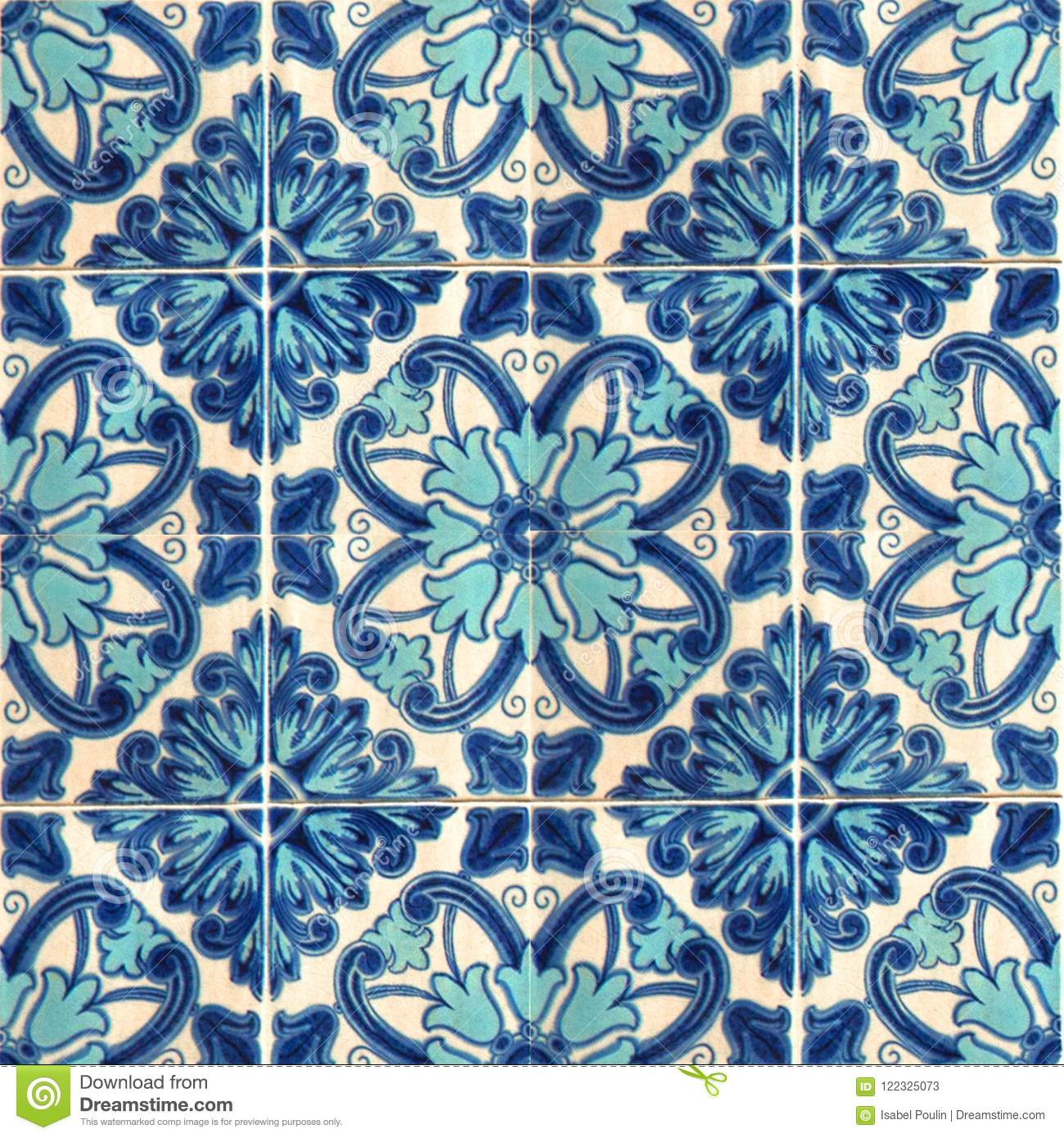 Collection Of Blue Patterns Tiles Stock Image - Image of moroccan ...