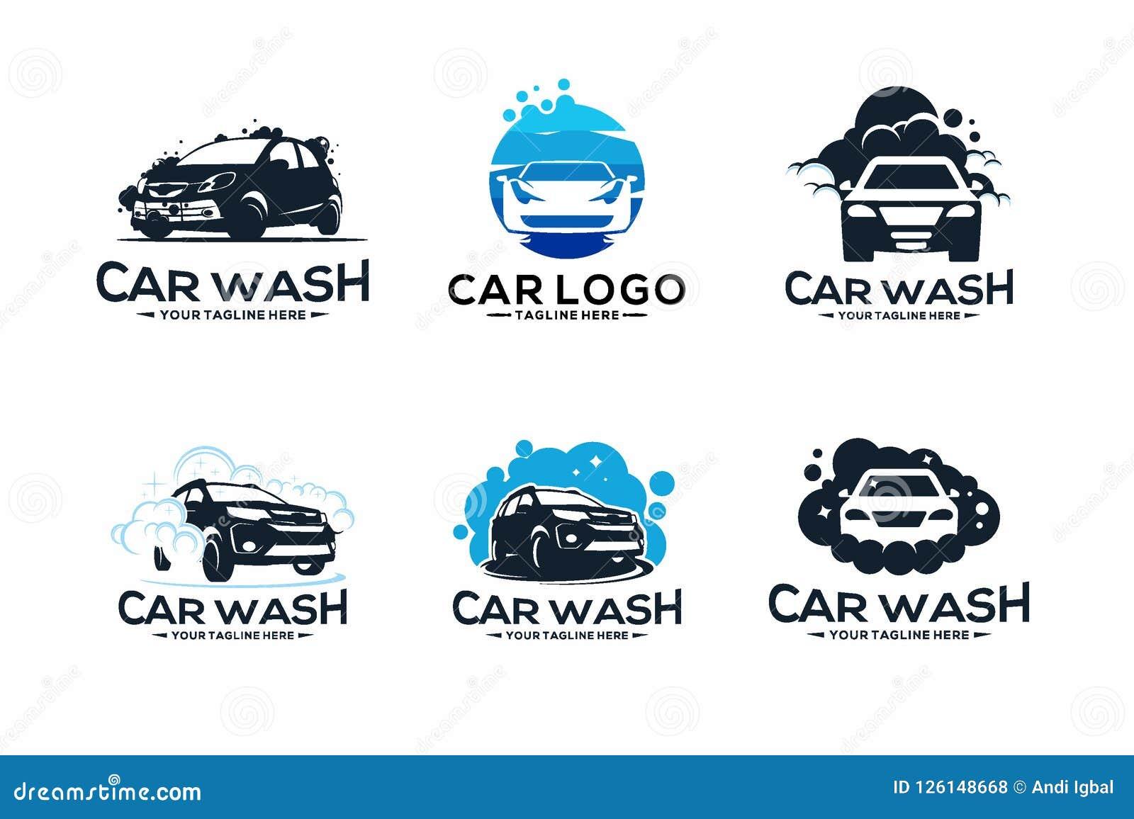 Automotive Repair Apps >> Car Wash Service Logo Vector Set Design Cartoon Vector