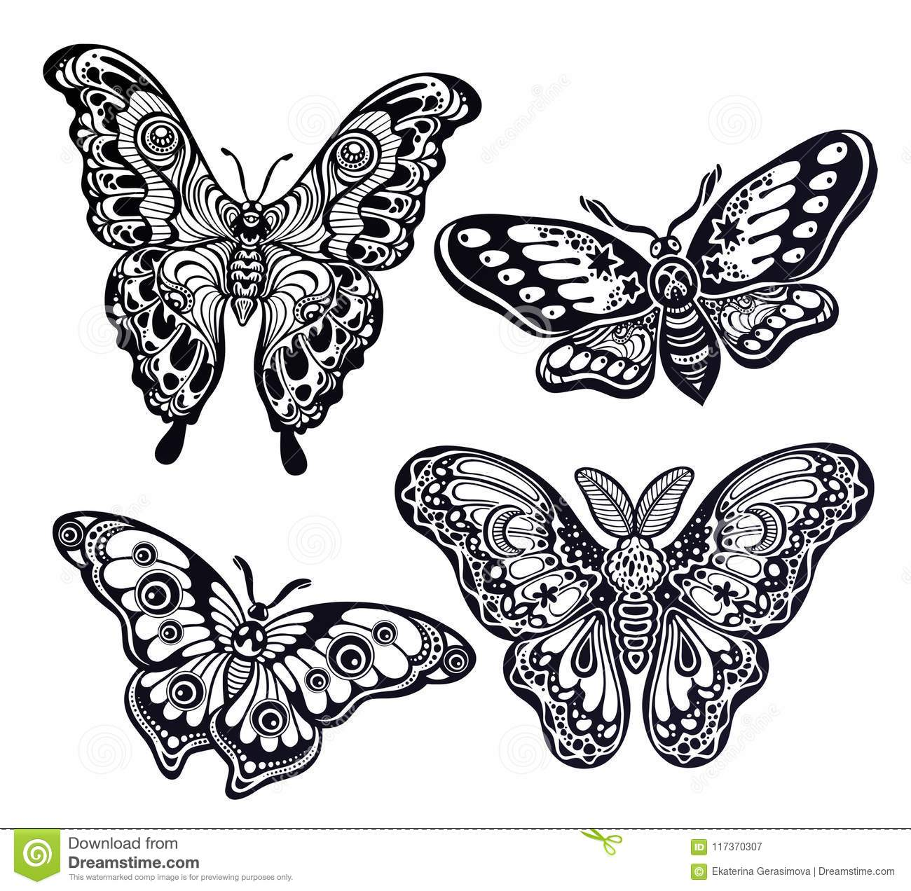 3c6ef7243b2d7 Beautiful, illustration. Royalty-Free Vector. A collection of butterflies  or moths. A set of fantasy style ornate insects