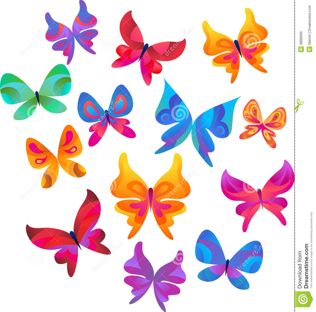 collection of butterfly icons and symbols stock photo image 9888060
