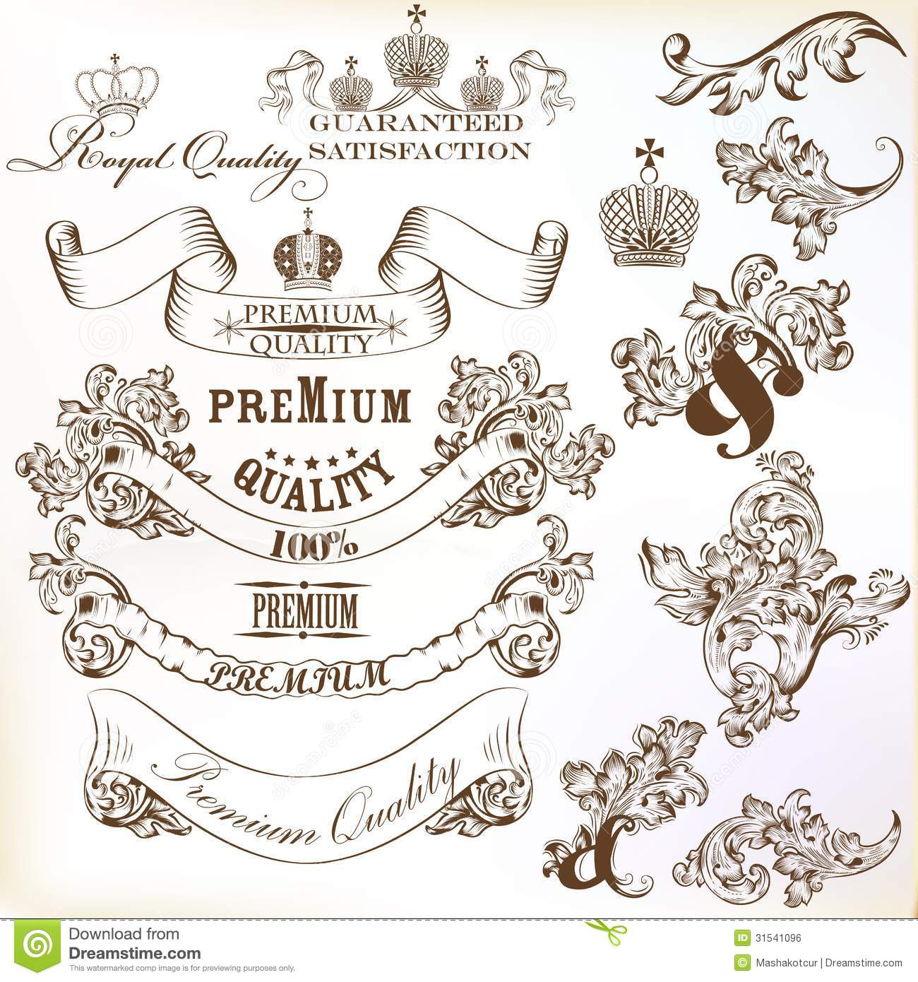 Collection Of Calligraphic Decorative Vector Elements