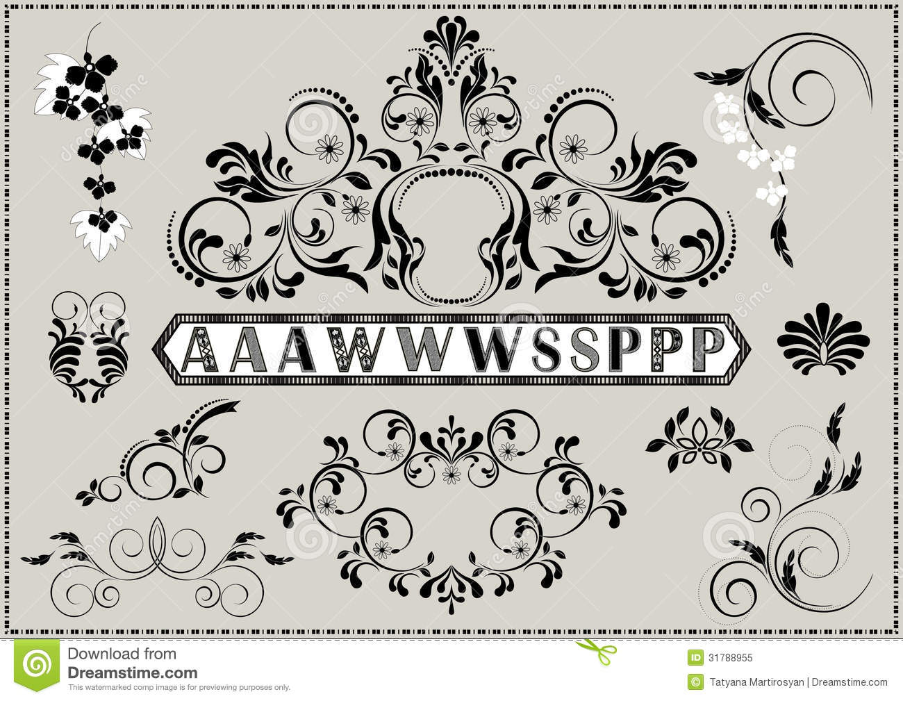 Collection of calligraphy patterns and letters with