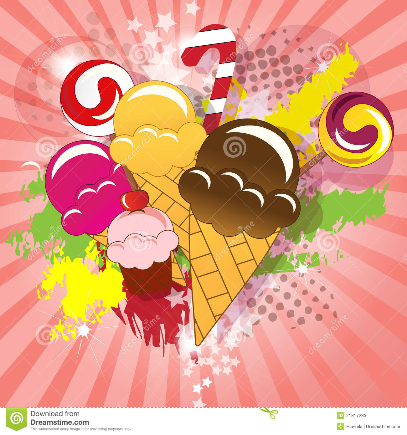 Ice Cream Background Sparking Shiny Decoration Free Vector: Collection Of Candy, Ice Cream, Cup Cakes And Loll Stock