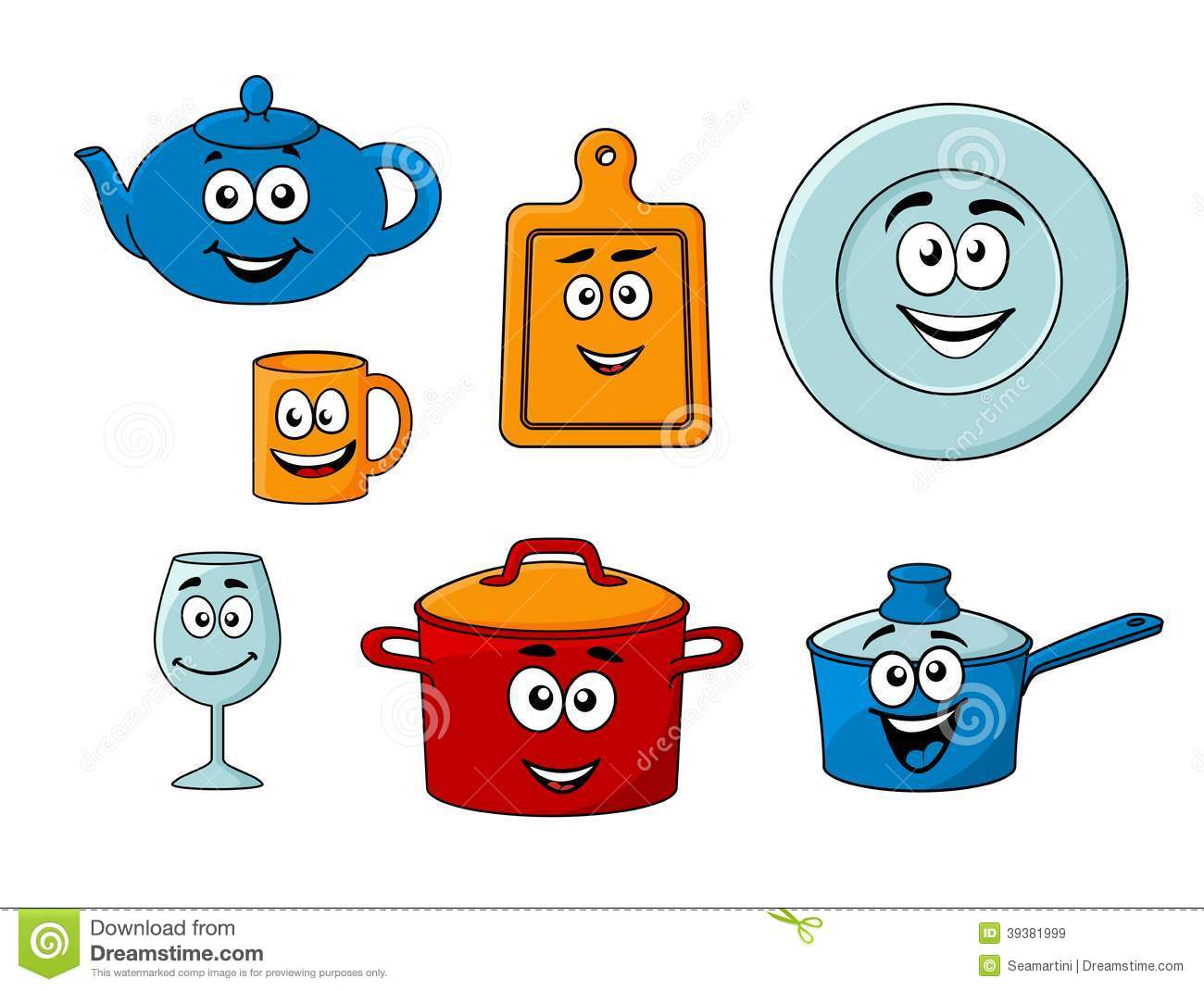 Collection Of Cartoon Kitchenware Stock Vector - Image ...