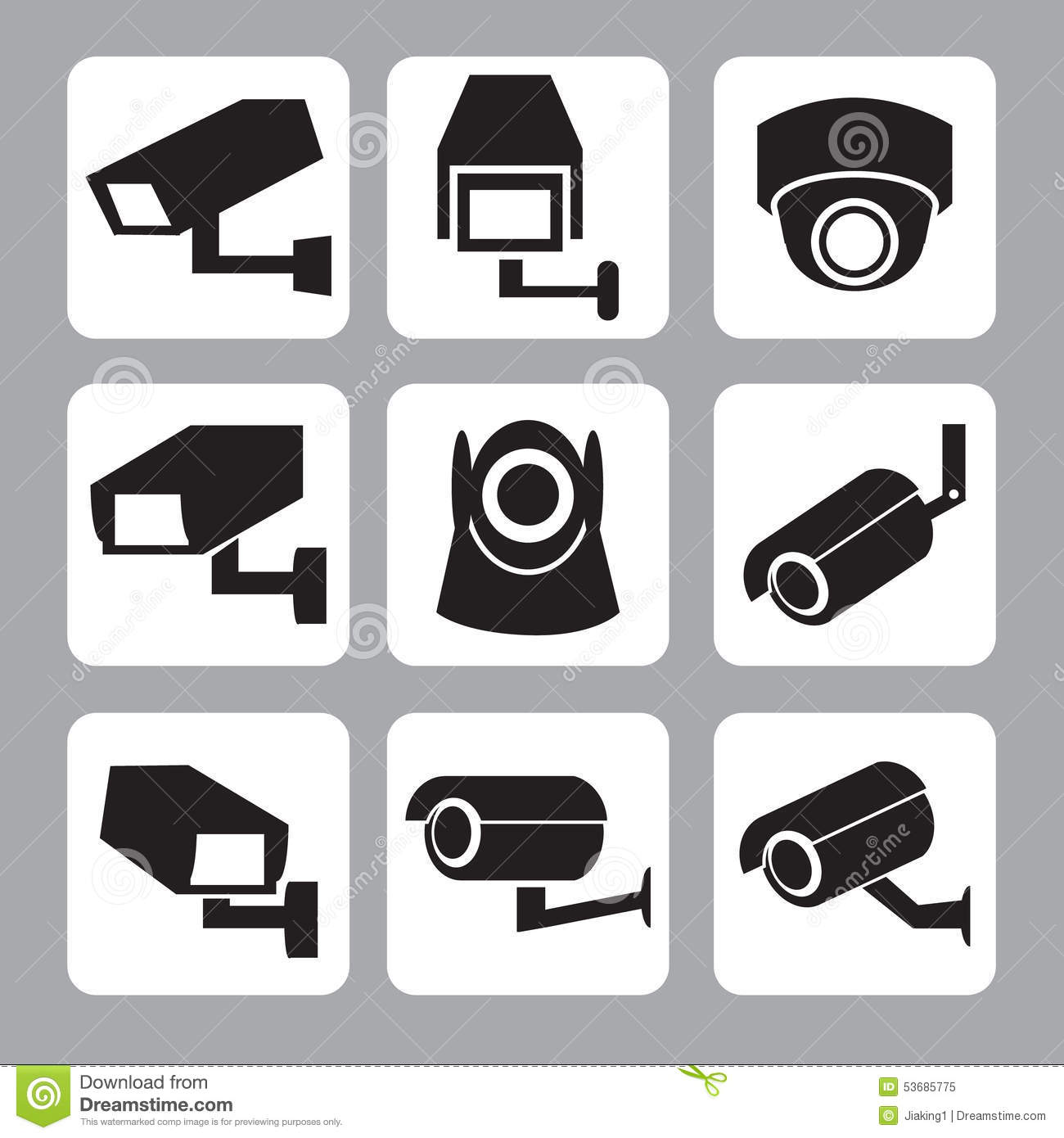 Collection Of Webcam, CCTV And Security Camera Icon Stock ...
